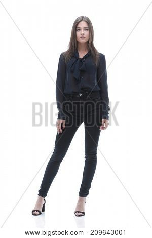 modern young business lady. Full-length portrait.