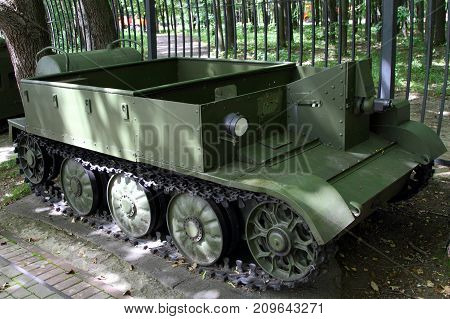 Moscow Russia - July 19 2017: Wasp IIC flamethrower carrier (Great Britain) on grounds of weaponry exhibition in Victory Park at Poklonnaya Hill.
