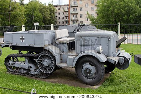 Moscow Russia - July 19 2017: Half-track artillery tractor Unis P-107B (France) on grounds of weaponry exhibition in Victory Park at Poklonnaya Hill.