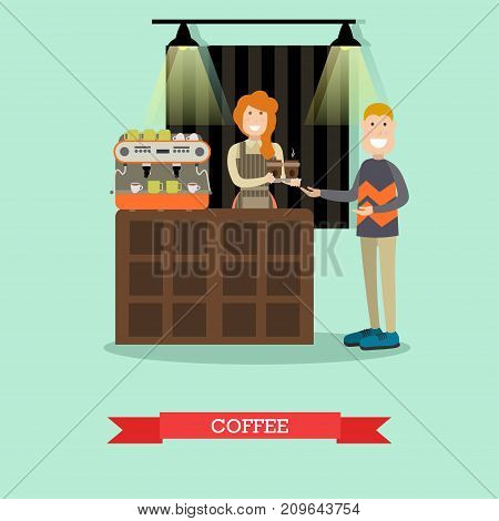 Vector illustration of customer buying coffee to go, smiling saleswoman with cups of coffee. Coffee house interior. Flat style design.