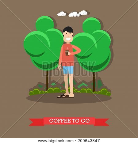 Coffee to go concept vector illustration in flat style. Young man with takeaway coffee. Flat style design.