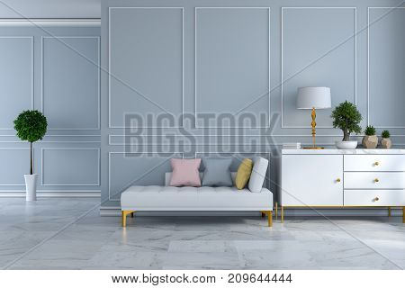 luxury modern room interior white daybed with white sideboard on light gray wall and marble floor /3d render