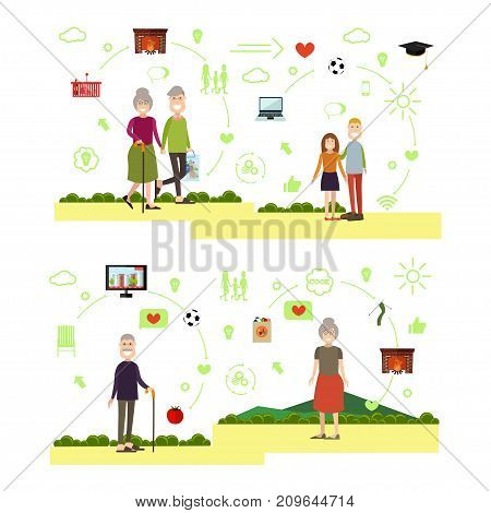 Vector illustration of elderly man and woman grandparents holding hands, happy children grandson and granddaughter. Family people symbols, icons isolated on white background. Flat style design.
