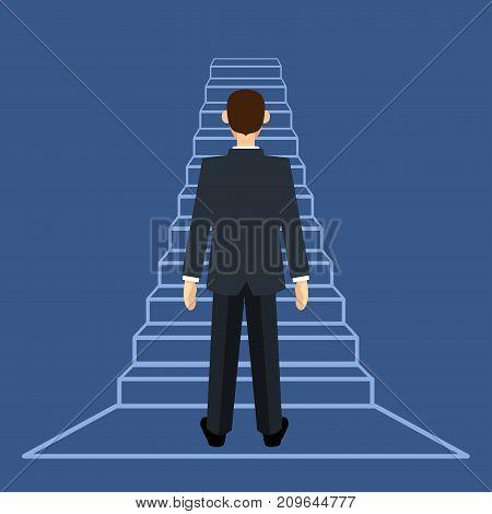 Businessman standing on ladder with flat design - Vector Flat Design