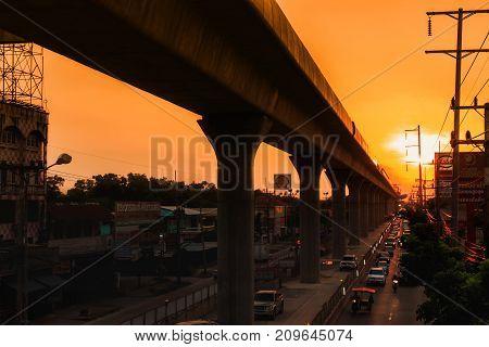 Skytrain Railroad At Sunset