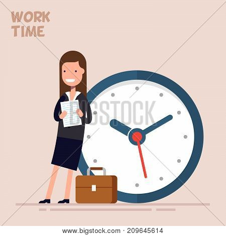 Happy businesswoman or manager is standing near a big clock. Vector illustration in a flat style. Concept of time management