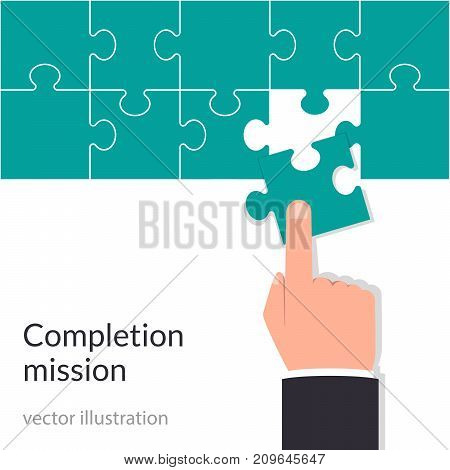 Completion mission concept. Businessman holding puzzle in hands putting in jigsaw. Vector illustration flat design. Isolated illustration