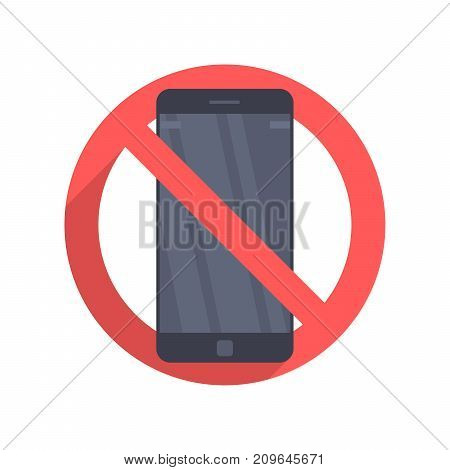 Vector icon prohibiting the use of a mobile phone or smartphone. Illustration in a flat design isolated on a white background