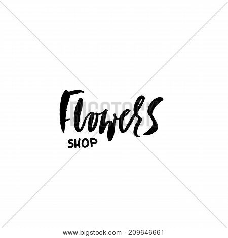 Flower shop logo. Calligraphy template design element for small business, florists market. Vector illustration