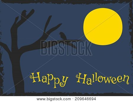 Happy Halloween card design, creepy silhouette of crows perch on dead tree cartoon vector