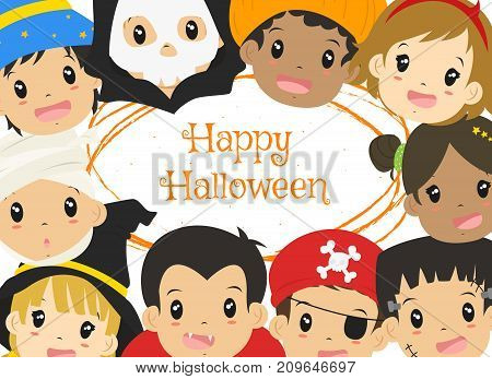 Happy Halloween card design, Halloween characters cartoon vector