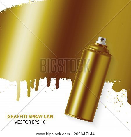 Vector Golden graffiti spray paint can with splash place for text. Vector graffiti illustration.