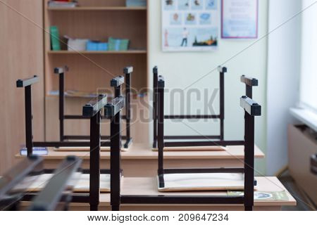 Look Out From The Table, Blur Image Of Empty Classroom As Background