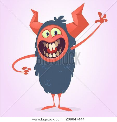 Angry cartoon black monster screanimg. Yelling angry monster expression. Halloween character. Vector illustrations.