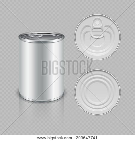 Realistic canned metal packaging vector isolated on transparent background illustration