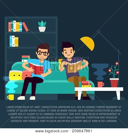 Boys reading books in living room and drinking tea. Vector illustration