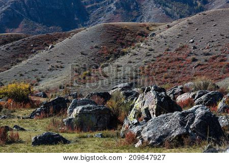 Rocks in the landscapes of Altai mountains, Altai Republic, Russia.