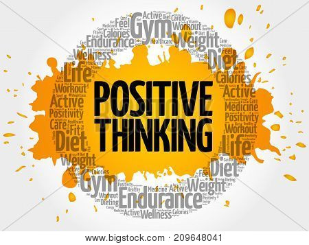Positive thinking circle word cloud health concept