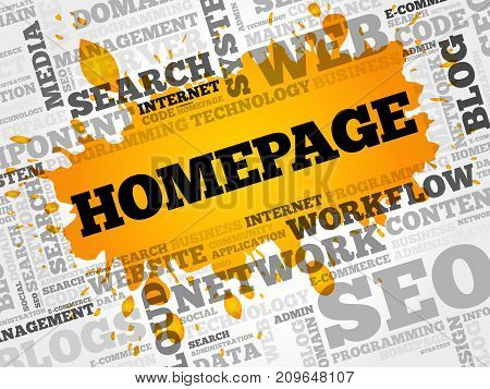Homepage word cloud collage , business concept