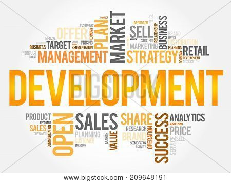 Development word cloud collage , business concept background