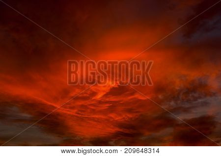 Red cloudy sky in the early evening