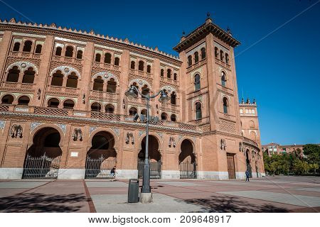 Madrid, Spain - October 14, 2017: Outdoor view of Bullring of Las Ventas. It is a famous bullring located in Guindalera quarter of Madrid.
