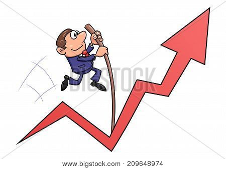 Illustration of the businessman jumping with the pole vault for success.