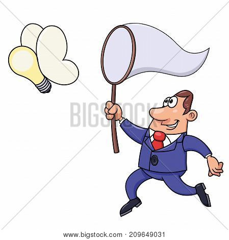 Illustration of the businessman trying to catch a light bulb idea