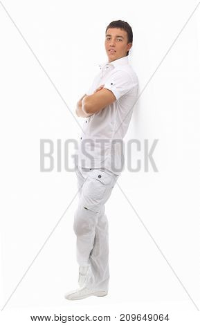 young handsome man in a white suit.