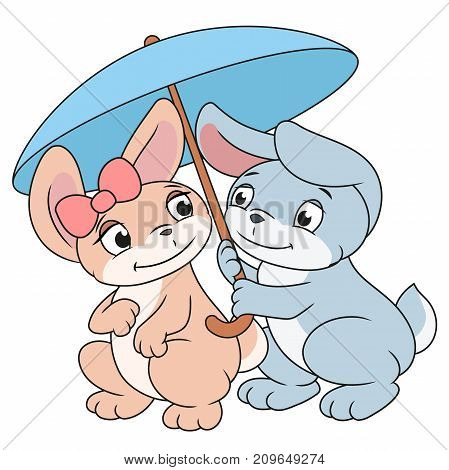 Illustration of the tow enamored bunnies with umbrella