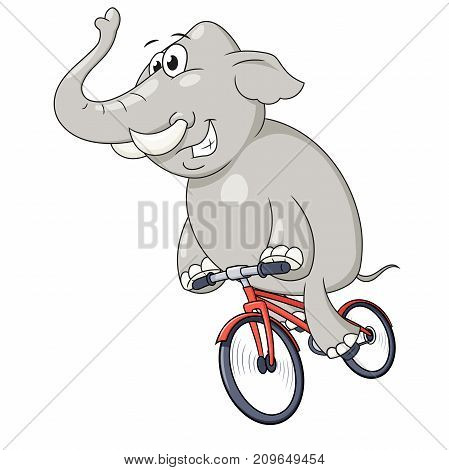 Illustration of the happy elephant riding bicycle fast