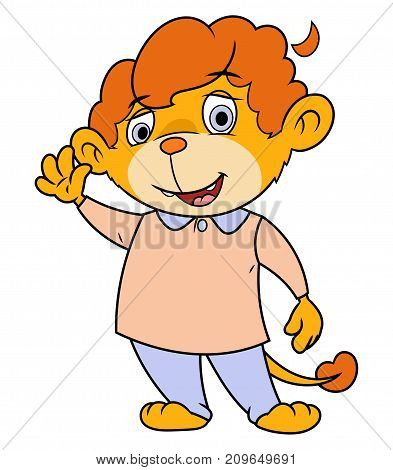 Illustration of the cute little smiling lion waving hand