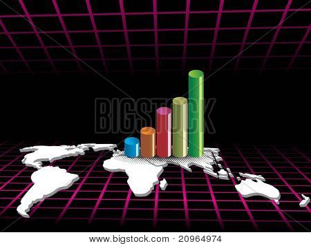 business graph and world map isolated on black, wallpaper