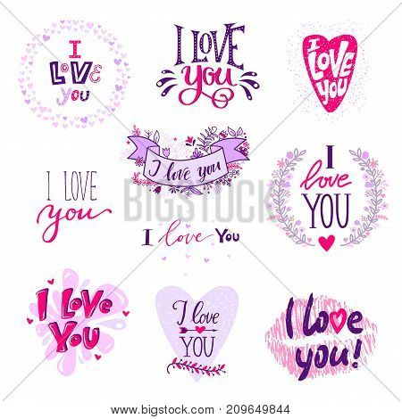 I love You calligraphy text phrases Valentine Day or Wedding font design vector illustration. Lovely text I love You follow your heart romantic type
