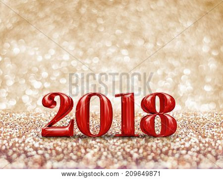 Happy New Year 2018 Year Red Number ( 3D Rendering ) At Sparkling Golden Glitter Studio Background ,