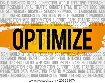 Optimize Word Cloud Collage Business Concept Background