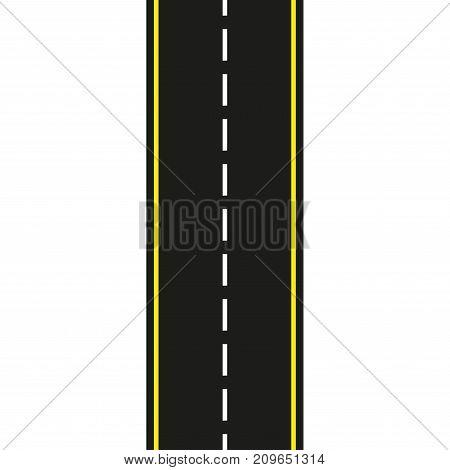 Asphalt road. Seamless road isolated on white background. Vector illustration.