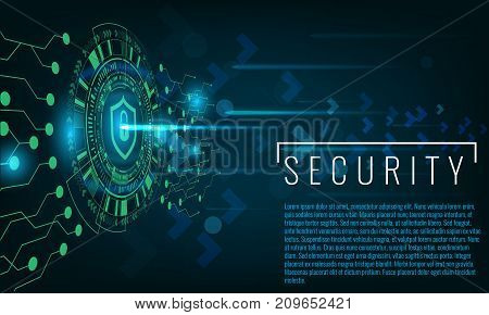 Techno circle geometric security concept banner. Illustrated vector.