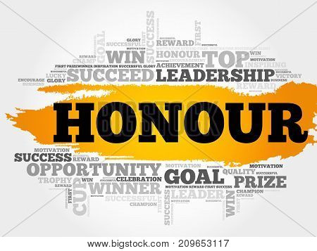 Honour word cloud collage, business concept background