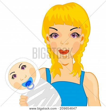 Making look younger girl with infant on white background is insulated