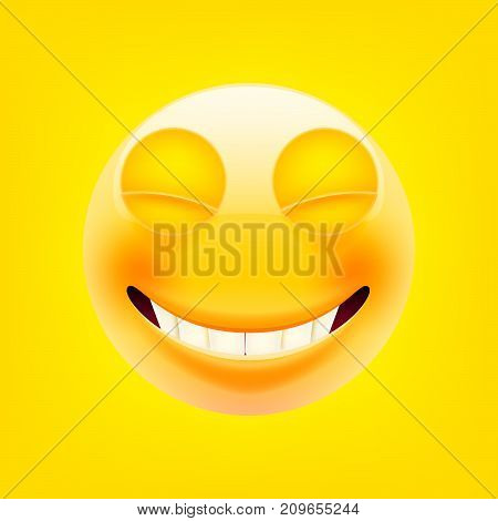 Smiling Face With Smiling Eyes. Happy Emoticon. Laughing Tears Emoticon. Smile icon. Isolated Vector Illustration on Yellow Background