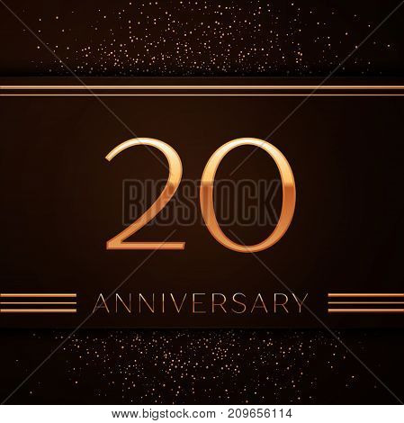 Realistic Twenty Years Anniversary Celebration Logotype. Golden numbers and golden confetti on brown background. Colorful Vector template elements for your birthday party
