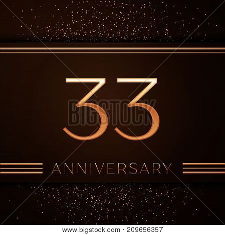 Realistic Thirty three Years Anniversary Celebration Logotype. Golden numbers and golden confetti on brown background. Colorful Vector template elements for your birthday party