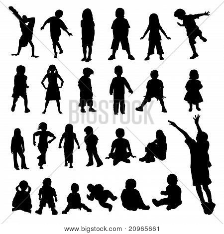 Lots of Children and Babies Silhouettes