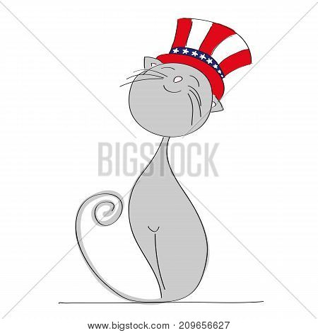 Proud patriotic cat dressed up for Independence Day celebration 4th of July - original hand drawn illustration