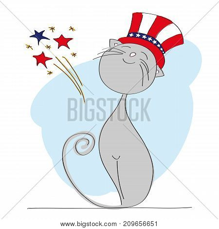 Proud patriotic cat dressed up for Independence Day celebration with 4th of July fireworks - original hand drawn illustration