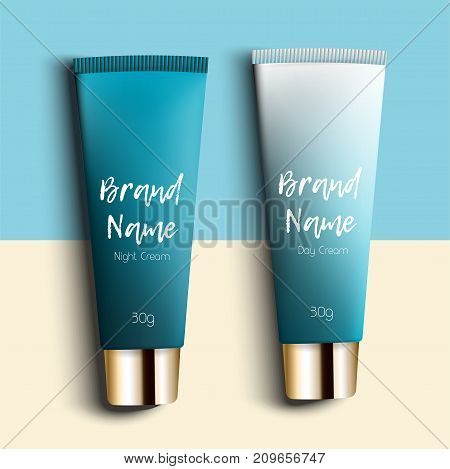 day and night cream. Realistic packaging for cosmetics with three templates. Pipe cream - bright, trendy, young background, top view. Advertising of fashionable cosmetic
