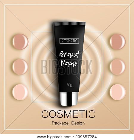 foundation template design packaging of cosmetics Top view vector illustration