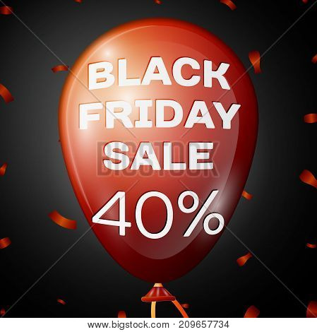 Realistic Shiny Red Balloon with text Black Friday Sale Forty percent for discount over black background. Black Friday balloon concept for your business template. Vector illustration