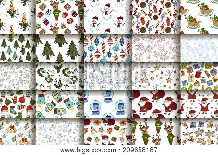 Set of 25 handdrawn Christmas seamless pattern.  Vector holliday winter illustrations